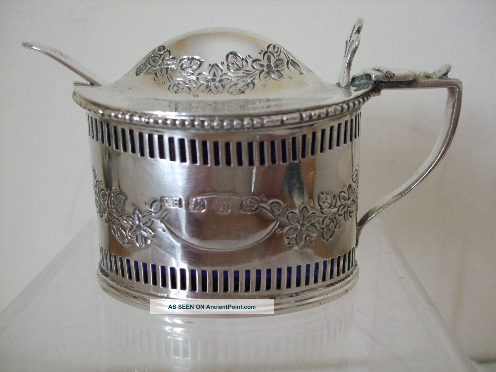Victorian Silver Large Mustard Pot 1895 Pierced Design With Pretty Engraving Mustard Pots photo