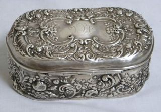 1895 Gorham Repousse Sterling Silver Large Box 7.  4 Oz. photo