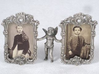 Antique Solid Silver Angel Held Pierced & Relief Double Photo Frame Circa 1910 photo