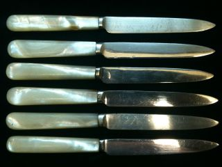Set Of Six Mother Of Pearl Handles Fruit Knives Ref 443 photo