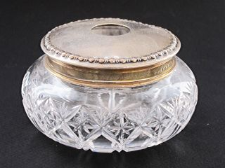 Solid Silver Lidded Cut Glass Dressing Table Jar 1899 Bowl Rouge Pot Box photo