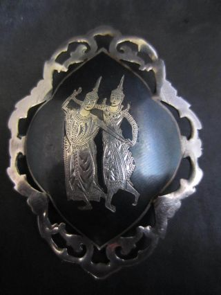 Solid Silver & Niello Siam Made Pin Brooch photo