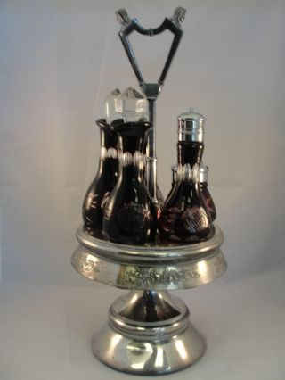 Antique Manning Bowman & Co.  272 Cruet Caster Set Silver Plate Cranberry Glass photo