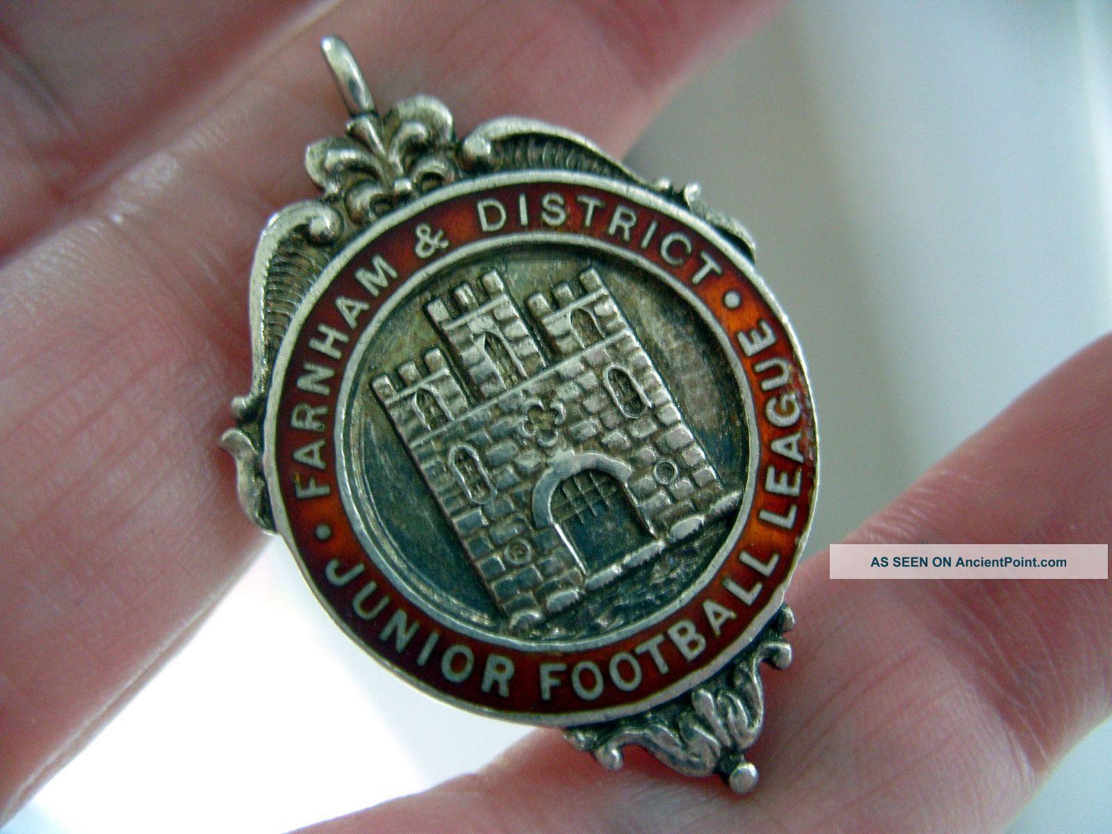 Antique 1937 Hallmark Silver Enamel Albert Watch Chain Farnham Football Fob Pocket Watches/ Chains/ Fobs photo