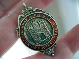Antique 1937 Hallmark Silver Enamel Albert Watch Chain Farnham Football Fob photo