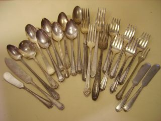 Vintage Mixed Lot Silverplate Silverware Flatware Dinnerware 23 Pcs photo