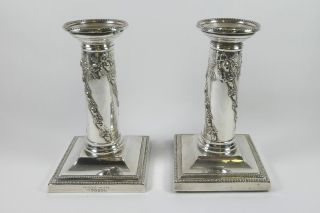 A Pair Of Antique Silver Plated Candlesticks By Mappin & Webb,  Princes Plate. photo