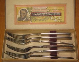 Rogers Silverplate Six Dinner Forks Wm.  Rogers Manufacturing Box photo