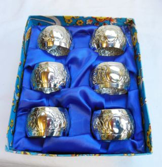 Antique / Vintage Set Of Six Napkin Rings - Boxed With Non Engraved Shields photo