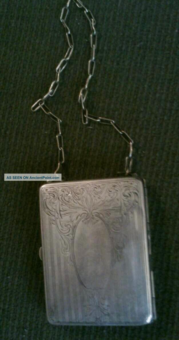 Antique German Silver Change Purse/make - Up Case Germany photo