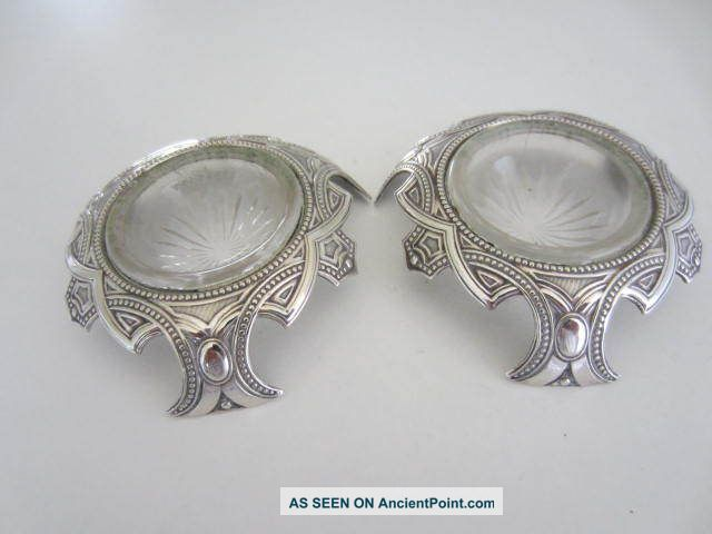 Pair Celtic Design Silver Plated Salts. . .  Circa 1900. . . Salt & Pepper Cellars/ Shakers photo