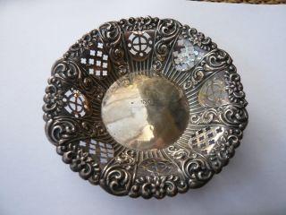 Edwardian Antique Vintage Ornate Solid Sterling Silver Sweet Dish Bowl Hm 1904 photo