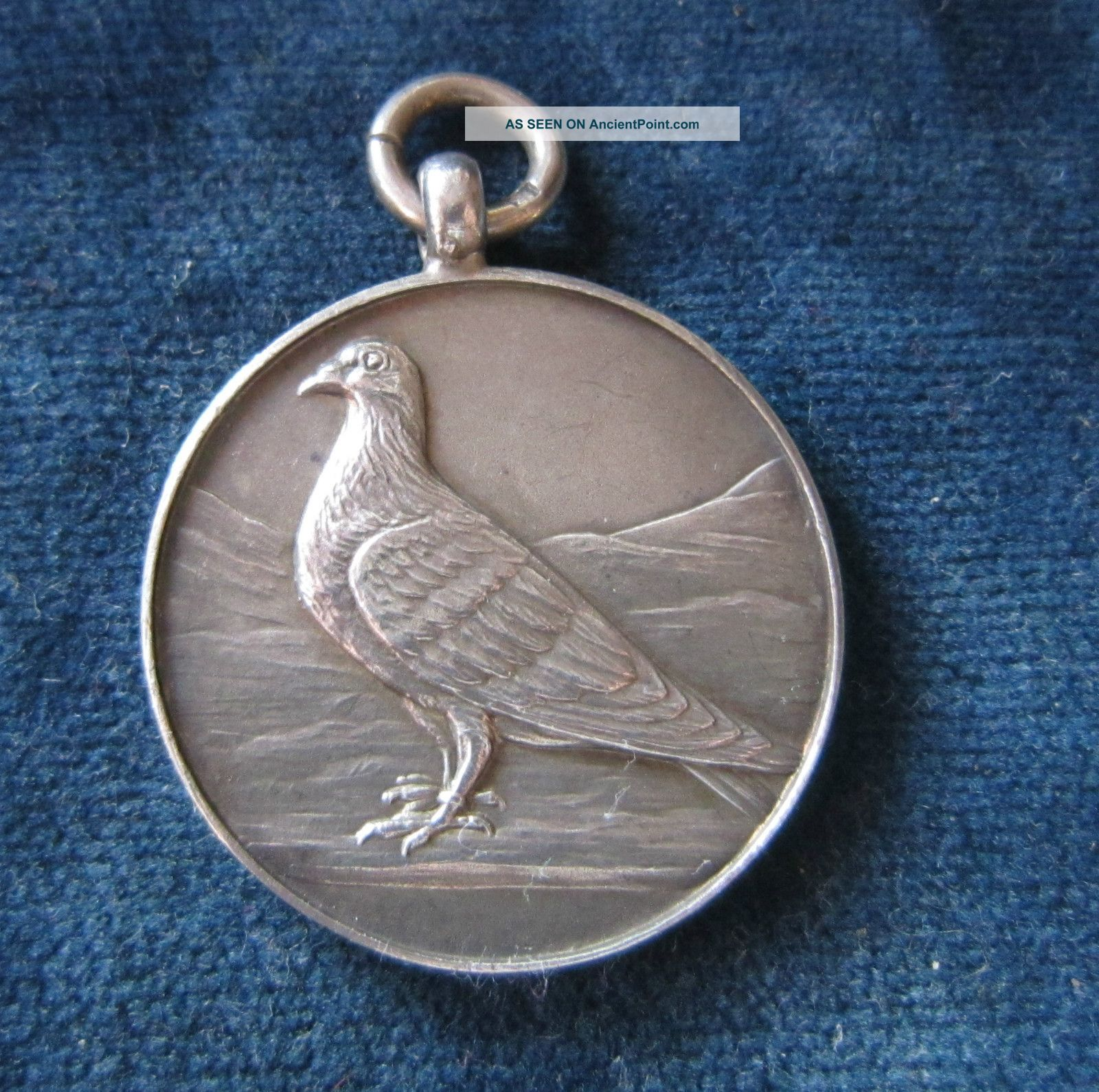 Vintage Solid Silver Pigeon Fob - Birmingham 1952 Pocket Watches/ Chains/ Fobs photo