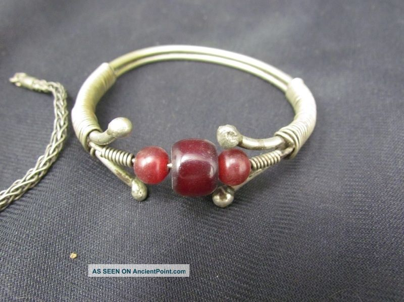 Antique Turkoman Tribal Silver Alloy & Gem Stone Bracelets Jewelry Middle East photo