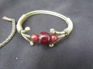 Antique Turkoman Tribal Silver Alloy & Gem Stone Bracelets Jewelry photo
