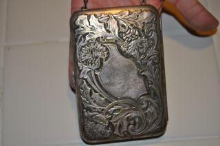 Antique Victorian Repousse German Silver Coin Purse Vtg photo