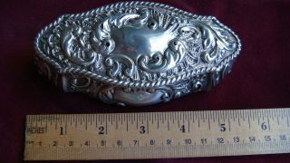 Antique Very Old Sterling Silver 1725 England Long Nouveau Ornate Box photo
