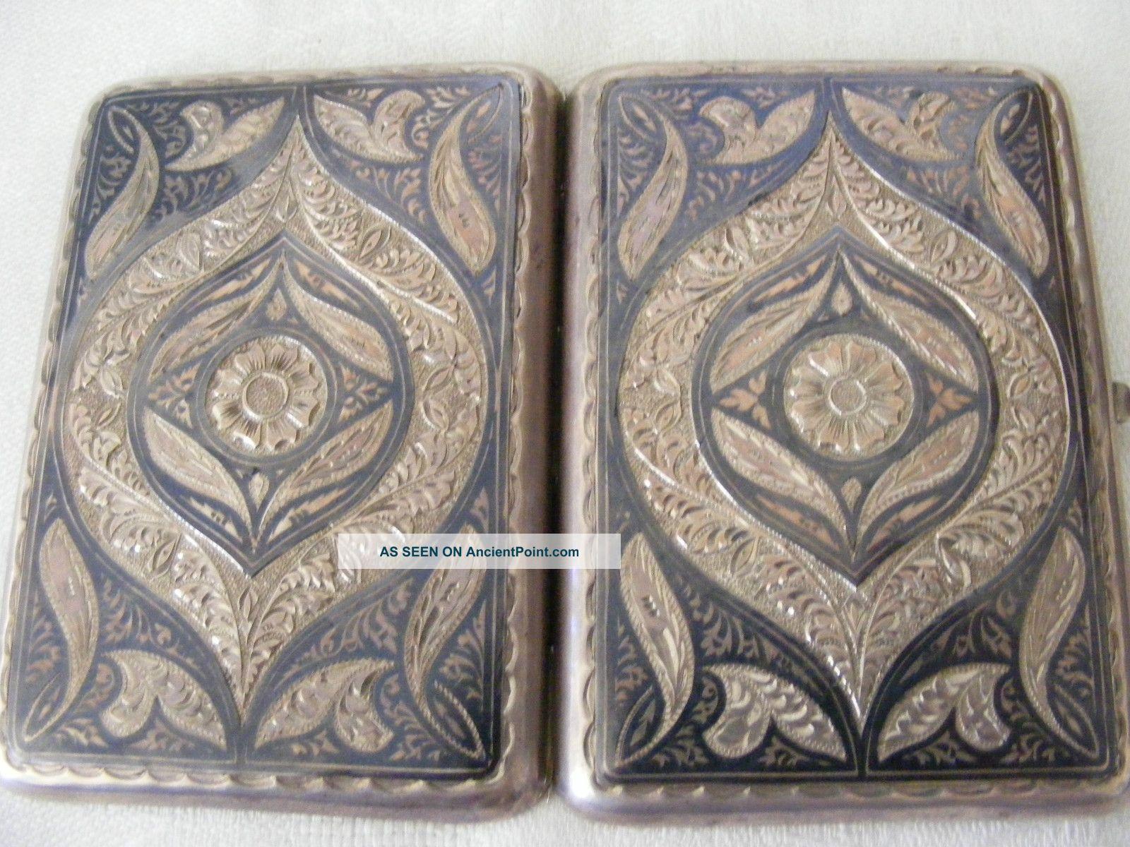 1927 - 55 Russian Silver Niello Enamel Cigarette Case Box Silber Russia Russland Russia photo