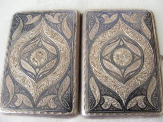 1927 - 55 Russian Silver Niello Enamel Cigarette Case Box Silber Russia Russland photo