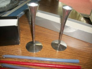 Made In Italy,  These Nickel Plate Over Metal Candleholders Are In Orignl.  Box photo