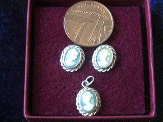 Vintage 925 Sterling Silver Cameo Earrings And Pendant photo