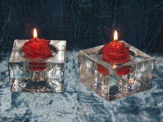 Two Solid Glass Square Shaped Candlestick Holders photo