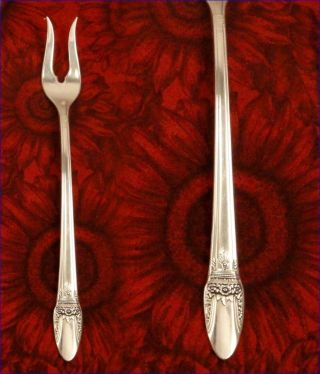 1847 Rogers First Love 2 Prong Pickle Fork 1937 Art Deco Vintage photo