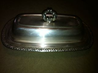 Silver Plate Oneida Covered Butter Dish photo