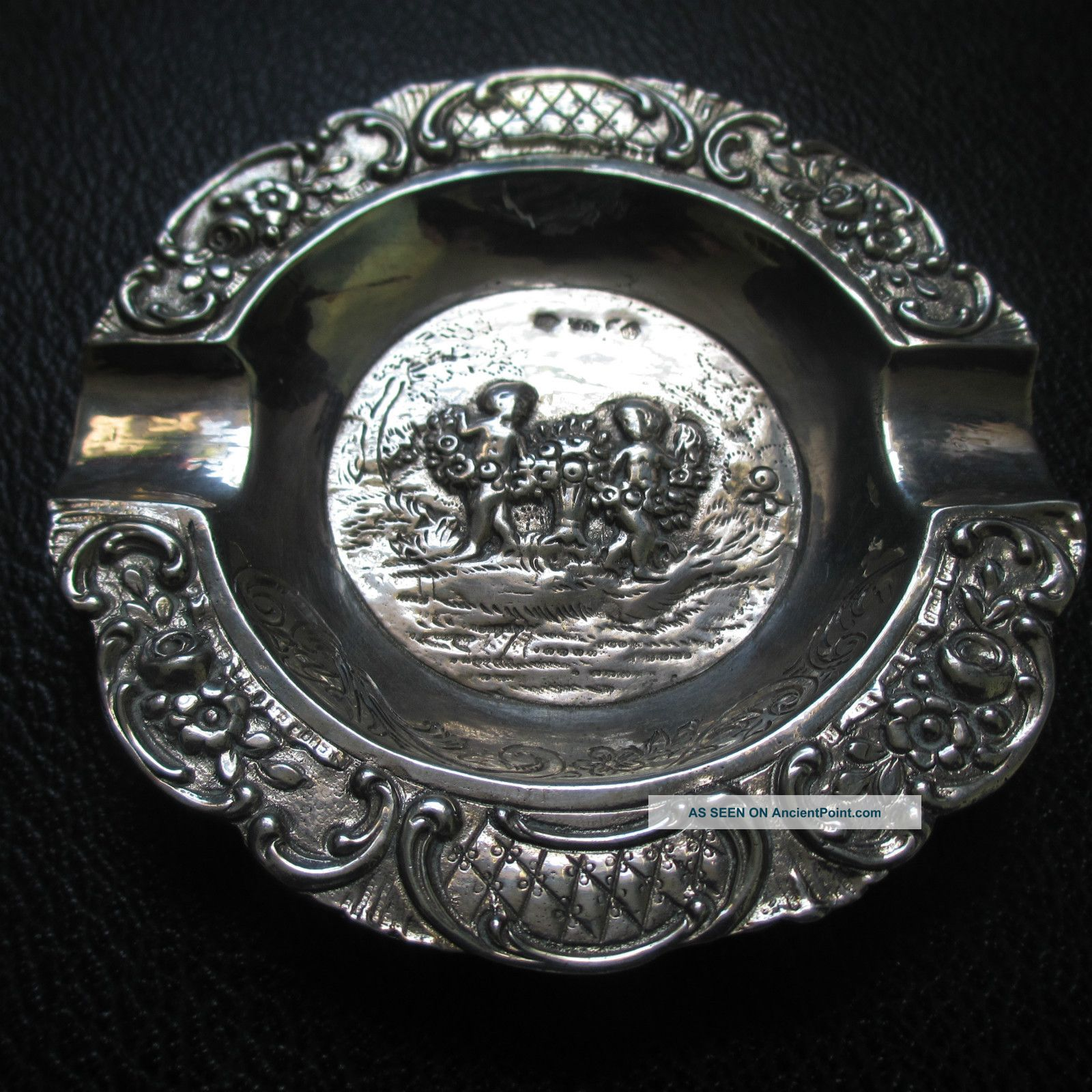 1901 - 1921 German,  Silver Ashtray,  Austria/hungarian Import Mark Ash Trays photo