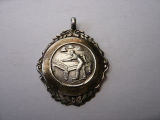Vintage Old Sterling Silver Pocket Watch Chain Fob Medal Snooker Billiards 1946 photo