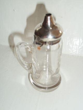 Unusual Solid Silver Topped Glass Handled Salt Cellar 1909 Birmingham photo