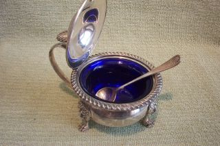 Birks - Ellis,  Silverplated Compote,  Mustard Pot W/ Matching Spoon & Insert photo