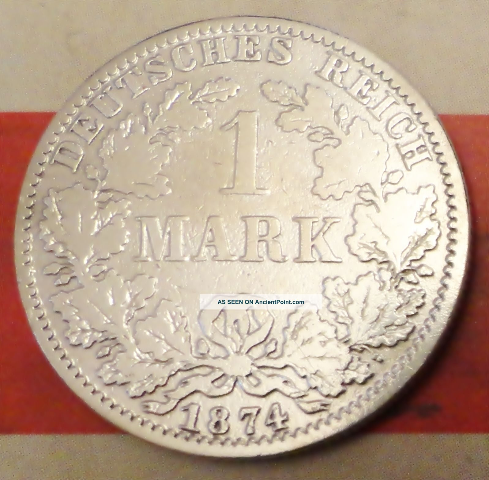 Extremly Rare 1 Mark 1874 A Germany Silver Coin Munich Mint Coin Silver (.900) photo
