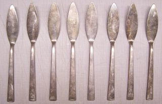 Vintage Set Of 8 Th.  Marthinsen Norway Silverplate Flatware Knife Knives photo