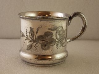 Vintage F B Rogers Baby Infant Childs Cup Mug Silver Plate Floral Barbara photo