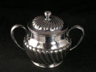 Wilcox Meriden Quadruple Silver Lidded Sugar Bowl Scalloped Sugar Bowl 5034 photo