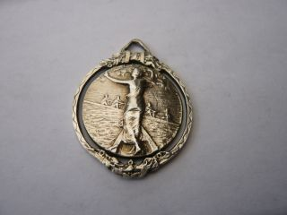 Stunning Vintage Silver Pocket Watch Chain Fob Medal Rowing Boating Sanremo 1925 photo