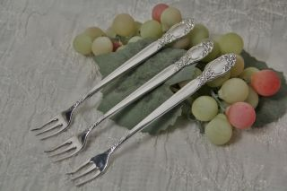 3 Oneida Ltd Silversmiths Ballad / Country Lane Silver Plate Cocktail Forks 1953 photo