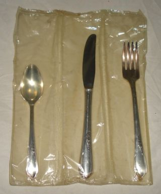 3 Piece Youth Silverplate Set Oneida Meadowbrook Fork Knife Spoon Mip 1936 photo