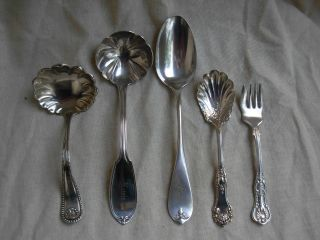 Sterling Silver,  Coin,  Flatware Lot,  5 Pieces,  210 Gr. photo