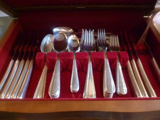 Silver Plate Oneida Silversmiths 5 Piece Service For 9 Plus Serving Pieces photo