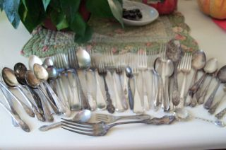 54 Piece Mixed Lot Antique Silver Plate Flat Ware photo