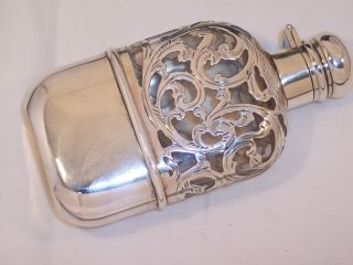 Excellent Antique Sterling Silver Overlay Crystal Small Flask Black Star & Frost photo