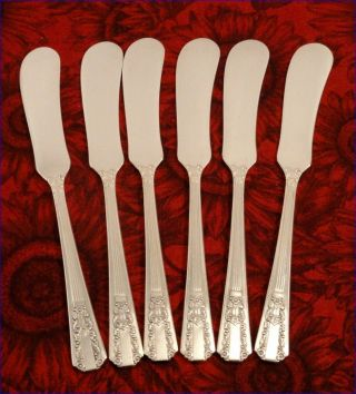 Rogers Oneida Lido Set 6 Butter Spreaders Art Deco Silver Plate Vintage 1938 photo