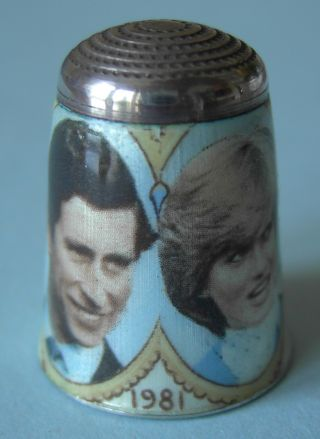 1981 Charles And Diana Wedding,  Enamel On Solid Silver Thimble,  James Swann photo