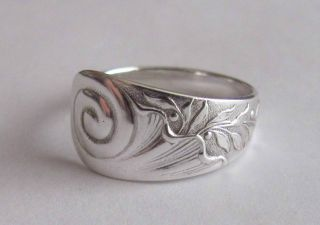 Sterling Silver Spoon Ring - Wood & Hughes / Cornucopia - Size 8 (6 To 8) - 1880 photo