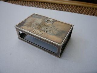 Old Antique Vintage Solid Sterling Silver Table Vesta Match Box Holder Engraved photo