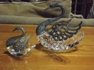 Albo 835/crystal Swan Master Open Salt Cellar +1 Salt/pepper Smaller Swan Cellar photo