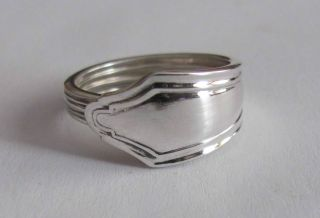 Sterling Silver Spoon Ring - Anglo Orient (british) - Size 6 1/2 To 8 - 1946 photo