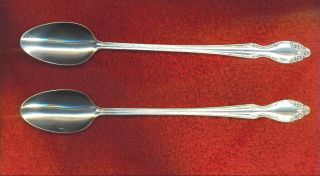 Wm Rogers 1955 Lady Densmore / Woodland Rose 2 Ice Tea Beverage Spoons Mint photo